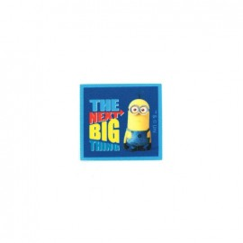"Iron on canvas patch The Minions ""The next big thing"" - blue"