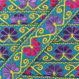 Ruban Galon Jacquard Delhi turquoise x 1m