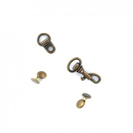 Complete metal fastener for bag handles - bronze
