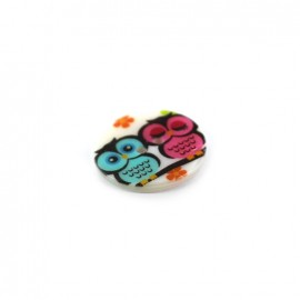 Mother-of-pearl button Owl family IN LOVE - multicolored