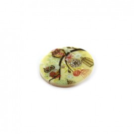 Mother-of-pearl button Owl family WINTER - multicolored