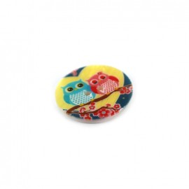 Mother-of-pearl button Owl family JAPAN - multicolored
