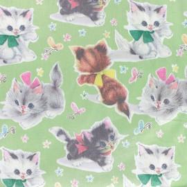 Tissu Kitty cat vintage vert x 16cm