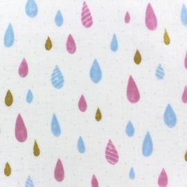 Tissu Kokka double gaze de coton Raindrop rose/blanc x 10cm