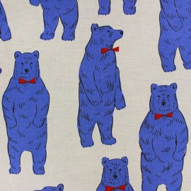 Tissu toile de coton Kokka Smart Bear bleu x 30 cm