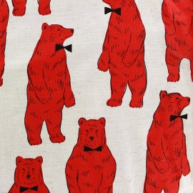 Tissu toile de coton Kokka Smart Bear rouge x 30 cm
