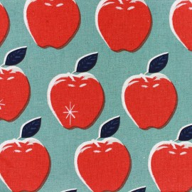 Tissu toile de coton Apples Picnic bleu x 25 cm