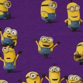 Jersey fabric The Minions - purple x 21cm