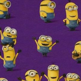 Tissu Jersey Les Minions violet x 21cm