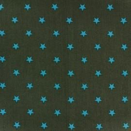 Tissu coton Qjutie Kids Stars turquoise/kaki x 10cm