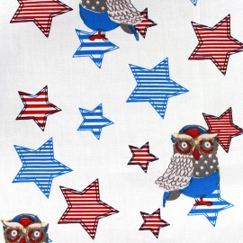 Tissu coton Qjutie Kids Owl Stars rouge x 31cm