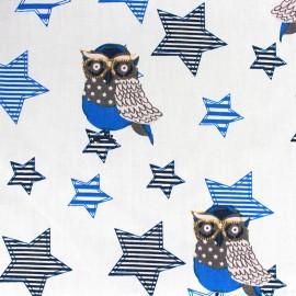 Tissu coton Qjutie Kids Owl Stars bleu x 31cm