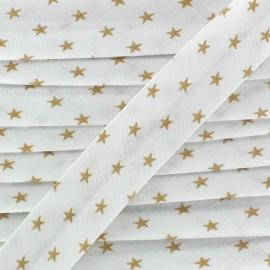 Biais étoiles beige / blanc