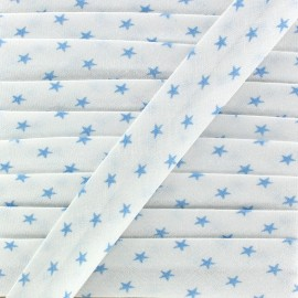 Biais Coton Etoiles - Bleu Ciel x 1m