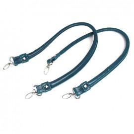 Anses de sac simili cuir color Bleu acier
