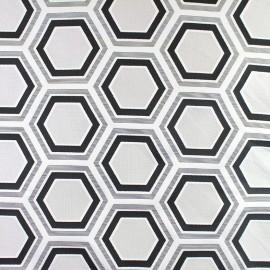 Tissu Tomette Hexagone noir x 21cm