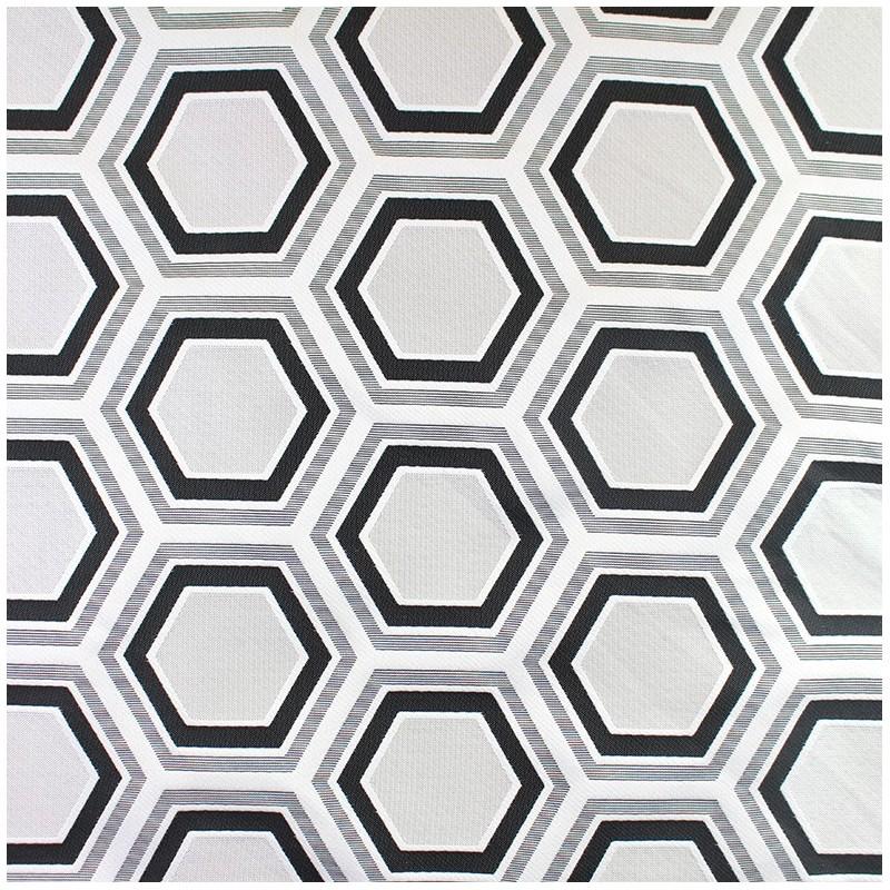 tissu jacquard tissu ameublement jacquard tomette hexagone noir. Black Bedroom Furniture Sets. Home Design Ideas