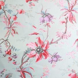 ♥ Coupon 252 cm X 280 cm ♥ Tissu coton bachette Amandine bleu/rose