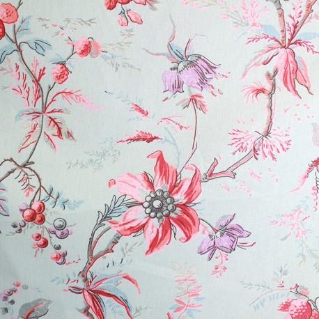 Tissu coton bachette Amandine bleu/rose x 63cm