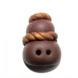 Fimo button, black chocolate cream puff - light brown/brown
