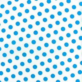 Tissu pois turquoise fond blanc x 10cm
