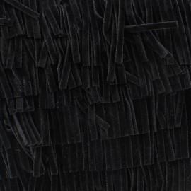 Velvet fringe Yakamas - black x 50cm