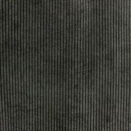 Tissu velours à grosses côtes entoilé Pana anthracite x 10 cm