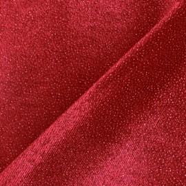 Glittery velvet fabric - red x10cm