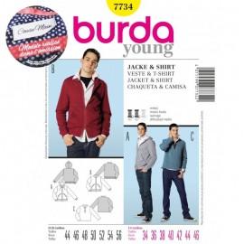 Patron Homme Cousu Main Veste & T-shirt Burda n°7734 - Saison 2