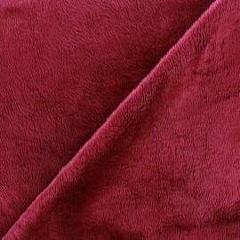 Tissu Velours minkee doux ras grenat x 10cm