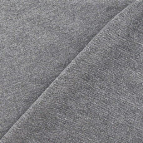 Tissu jogging jersey léger gris anthracite x 10cm