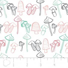"Tissu Camelot Fabrics ""Mushroom"" blanc x 10cm"