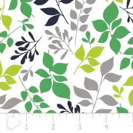 "Tissu Camelot Fabrics ""Green leaves"" white x 10cm"