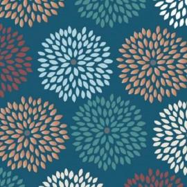 "Fabric Camelot Fabrics ""Flower burst"" - blue  x 10cm"