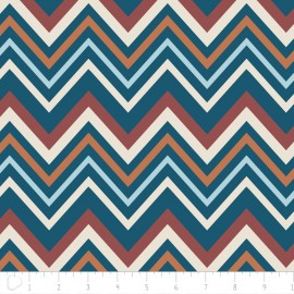 "Tissu Camelot Fabrics ""Chevron"" blue x 10cm"