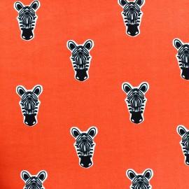 Fabric Poppy Jogging Zippy Zebra - orange x 10cm