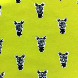 Tissu Oeko-Tex sweat léger Poppy Zippy Zebra moutarde x 10cm