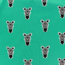♥ Coupon 20 cm X 148 cm ♥  Tissu Oeko-Tex sweat léger Poppy Zippy Zebra turquoise