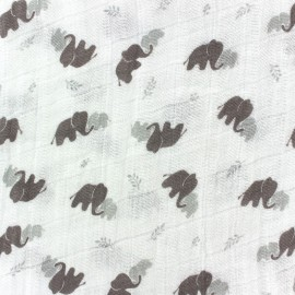 Tissu double gaze de coton Camelot Fabrics Nursery - Elephant x 10cm
