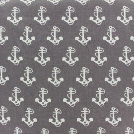 Poppy jersey fabric Nautical Anchor - taupe x 10cm