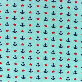 Poppy jersey fabric Nautical Stars - light blue x 10cm