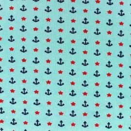 Tissu Jersey Poppy Nautical Stars - bleu clair x 10cm