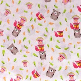 Poppy Indian Totem Pole Fabric - pink x 10cm