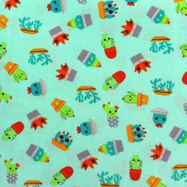 Tissu Oeko-Tex coton Poppy Fresh Cactus - bleu clair x 10cm