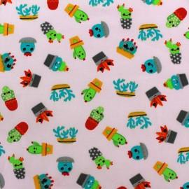 Tissu coton Poppy Fresh Cactus - rose x 10cm