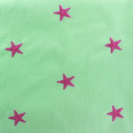 Embroidered cotton fabric Star - light green x 10cm