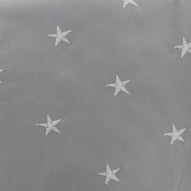 Tissu coton brodé Etoile - gris x 10cm
