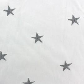 Tissu coton brodé Etoile - blanc x 10cm