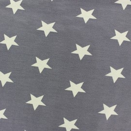 Poppy jersey fabric Stars - grey x 10cm