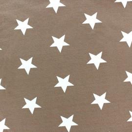 * Coupon 120 cm X 145 cm *  Tissu Jersey Poppy Big Stars beige